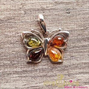 Pendentif Balticambre papillon en Ambre 4 couleurs