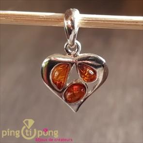 Pendentif Balticambre coeur en argent et ambre orange