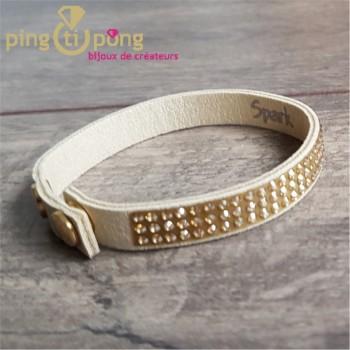 Bracelet Spark alcantara® beige et cristal de swarovski® or sur 3 rangs