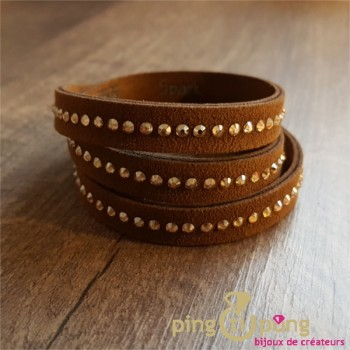 Bracelet Spark alcantara® et cristaux de swarovski® marron et or