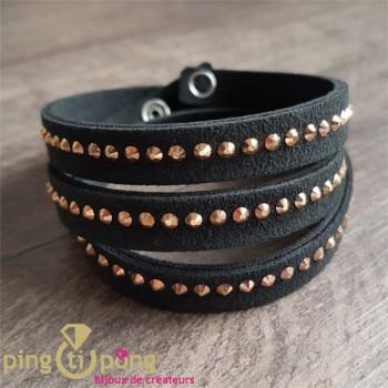 Bracelet noir Spark alcantara et cristal de swarovski or rose