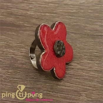 Bague fleur en véritable céramique émaillée rouge et noire