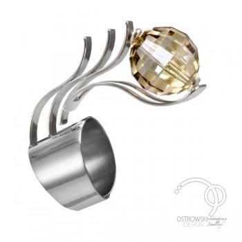 Bague GLOW en argent et cristal de Swarovski cuivre de Ostrowski Design