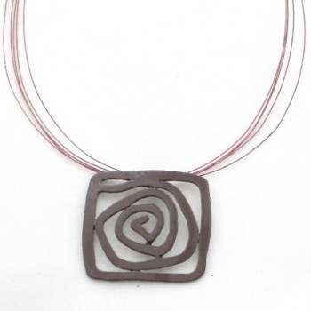 Collier émail spirale marron