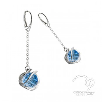Boucles d'oreilles Ostrowski Design en Swarovski Aiguemarine et argent Galaxie
