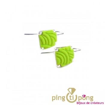 Boucles d'oreilles Pastacuita trapèze vertes