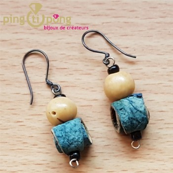 Boucles d'oreilles en peau d'orange bleue GREEN AGE