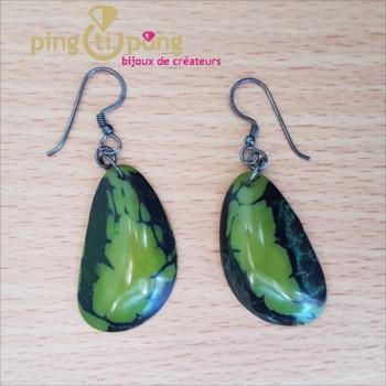 Boucles d'oreilles en tagua brillante verte - GREEN AGE