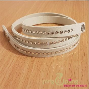 Bracelet alcantara blanc SPARK