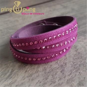 Bracelet Spark alcantara et cristal de Swarovski® fuchsia rose