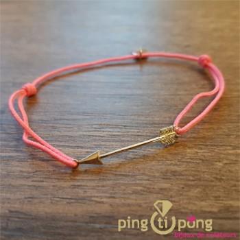 """Bracelet """"fléche"""" en argent 925 rhodié et lien rose- L'AVARE bijoux"""
