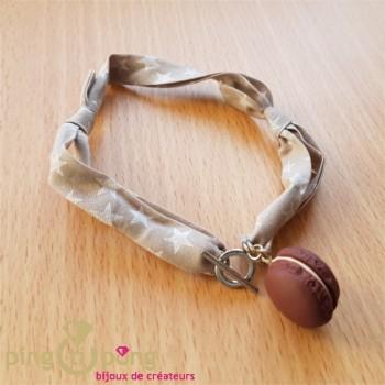 Bracelet double tour macaron marron chocolat - bijoux gourmands