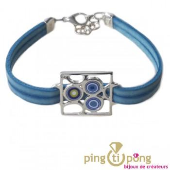 Bracelet en cuir bleu PASTACUITA