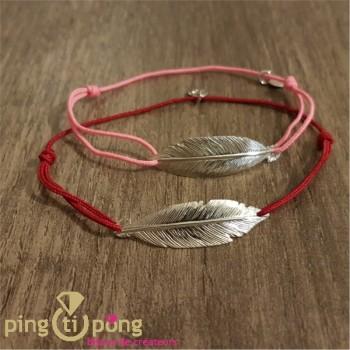 Bijoux plume rouge - Bracelet argent femme - L'AVARE bijoux