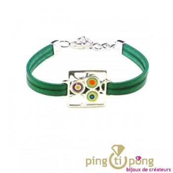 Bracelet cuir Pastacuita psychédélique vert
