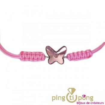 Bracelet papillon en cristal de Swarovski sur lien