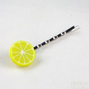 barette pate fimo gourmand tranche de citron jaune