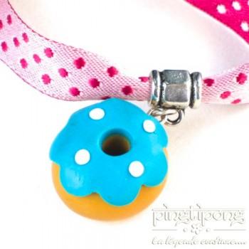 Bracelet bijoux gourmands donuts avec un glaçage bleu - bijou gateau