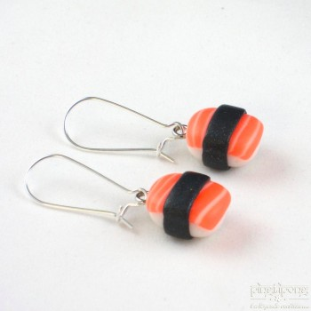 boucles d'oreille bijou gourmand sushi saumon orange fluo