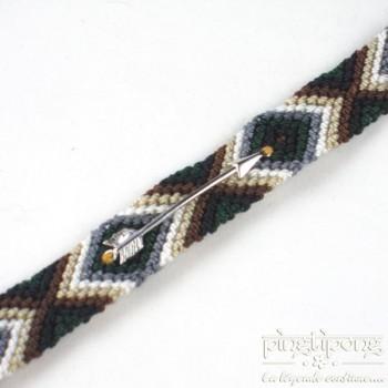 Bracelet brésilien flèche argent femme et homme marron blanc vert et gris