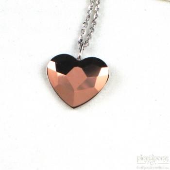 collier spark en forme de coeur en swarovski or rose et argent