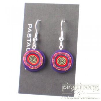 Boucles d'oreilles Pastacuita spirale rondes pendantes violettes