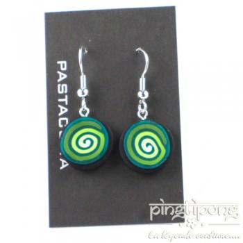 Boucles d'oreilles Pastacuita spirale pendantes rondes verte