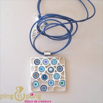 Collier argent Pastacuita cercles psychédéliques bleu