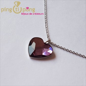 Collier coeur violet SPARK