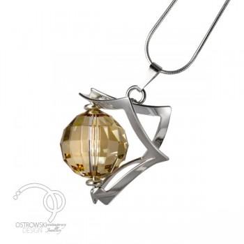 Collier en argent et cristal de swarovski rond forme espace de ostrowski design