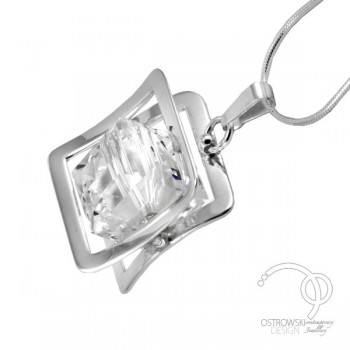 collier original en argent et swarovski de Ostrowski design blanc diamant, collection Xplay