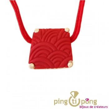Collier argent Pastacuita trapèze rouge