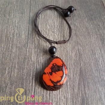 Collier écologique Green Age Zèbre en tagua orange et coton