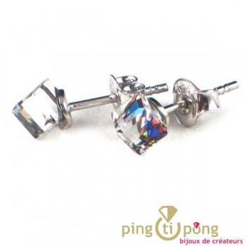 bijoux swarovski et argent boucles d'oreilles Spark petit cube vitrail
