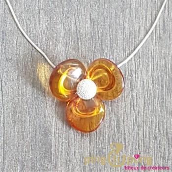 Collier Fleur en ambre et argent BALTICAMBRE