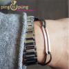 """Bracelet """"FIGARO"""" pour homme en argent et lien gris par Olivier LAFOND"""