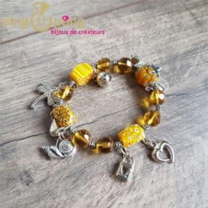 Bracelet fantaisie : Bracelet en résine jaune de PINGTIPONG