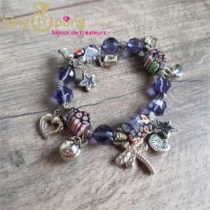 Bijoux fantaisie : Bracelet breloque en résine violet de PINGTIPONG