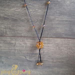 Bijou fantaisie : Sautoir perles jaune PINGTIPONG