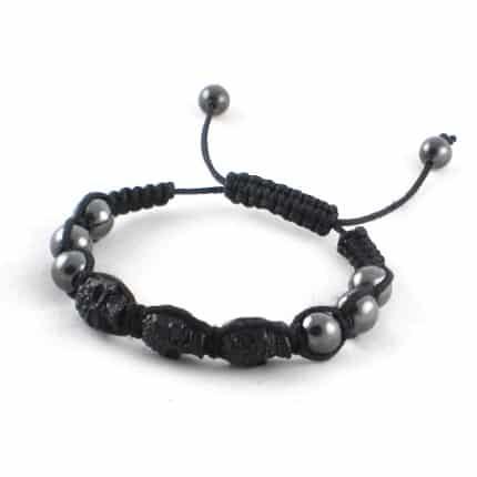 shamballa bracelet noir tête de mort