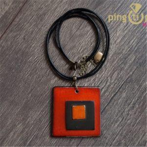 Collier triple carré artisanal en céramique émaillée orange-0