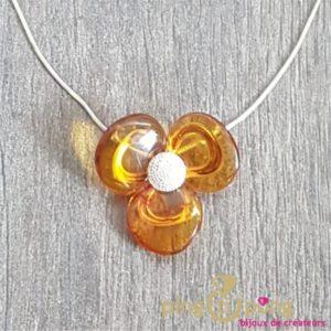 Collier Fleur en ambre et argent BALTICAMBRE-0