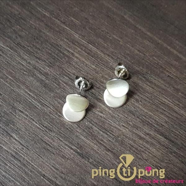 Boucles d'oreilles Pétales en argent du créateur Kelim Design -0