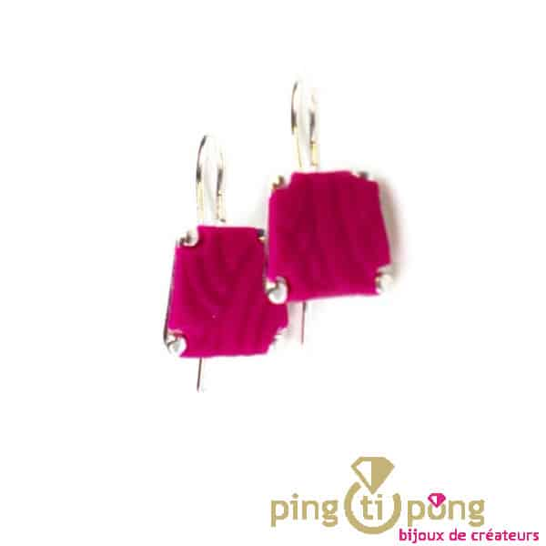 Trapezium earrings Pastacuita pink fuchsia silver plated-0