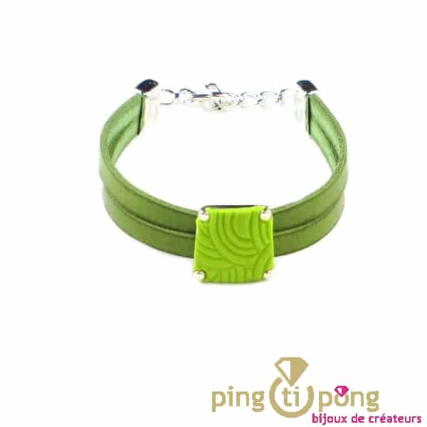 Bracelet Leather and green trapezium pattern of PASTACUITA-0