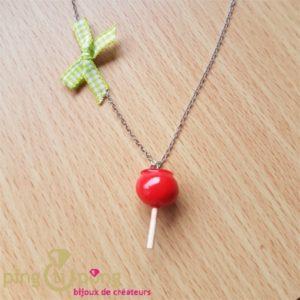 Collier bijoux gourmands Pomme d'amour rouge-0