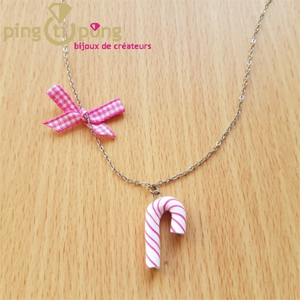 Collier bijoux gourmands sucre d'orge rose-0