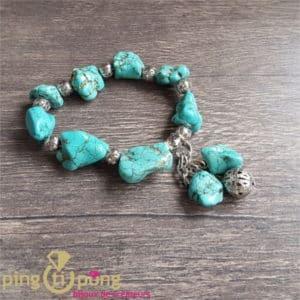Bijou original : Bracelet en pierres naturelles turquoises PINGTIPONG