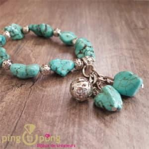 Bracelet pierres turquoise PINGTIPONG