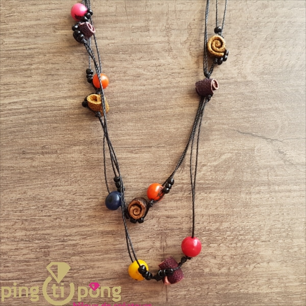 Original jewel : Long necklace in orange peel and tagua GREENAGE